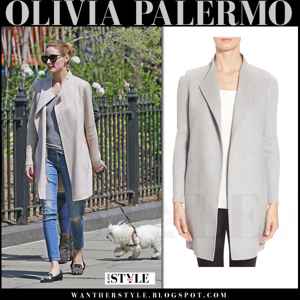 Olivia Palermo in beige cashmere kinross coat and ripped AG jeans what she wore casual dog walk outfit