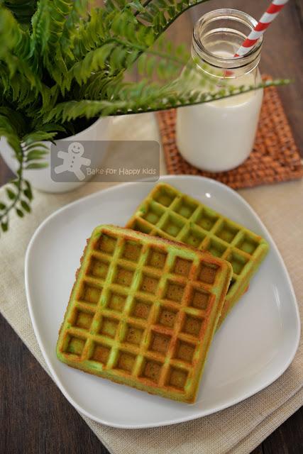 pandan coconut milk waffles