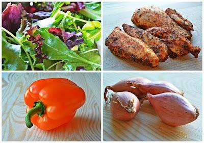 Sałatka z kurczakiem i brązową ciecierzycą - składniki