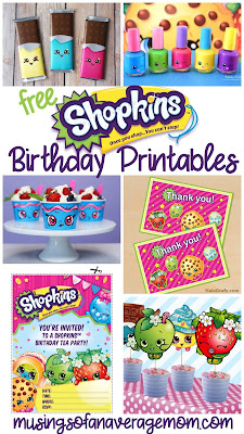 free Shopkins birthday printables