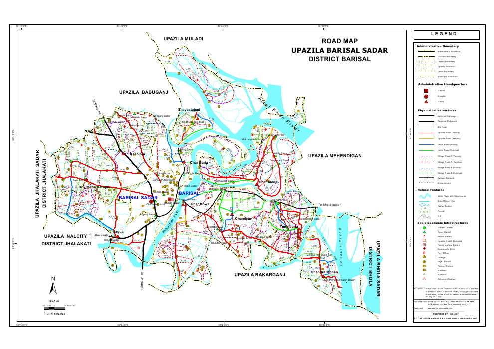 Barisal Sadar Upazila Road Map Barisal District Bangladesh