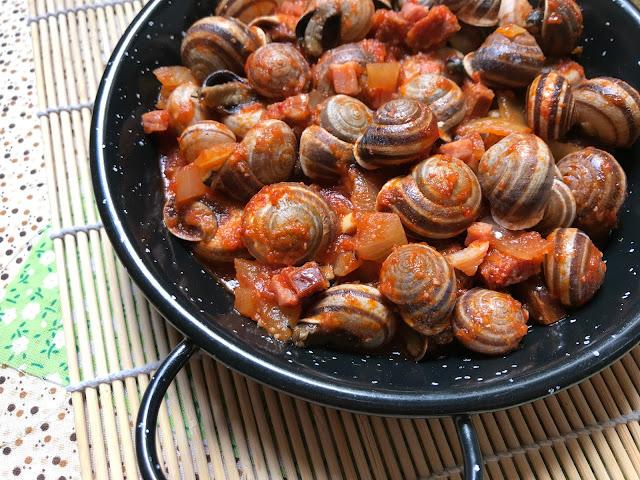 caracoles en salsa receta