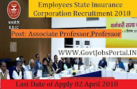 Employees State Insurance Corporation Recruitment 2018– 206 Professor, Associate Professor, and Assistant Professor