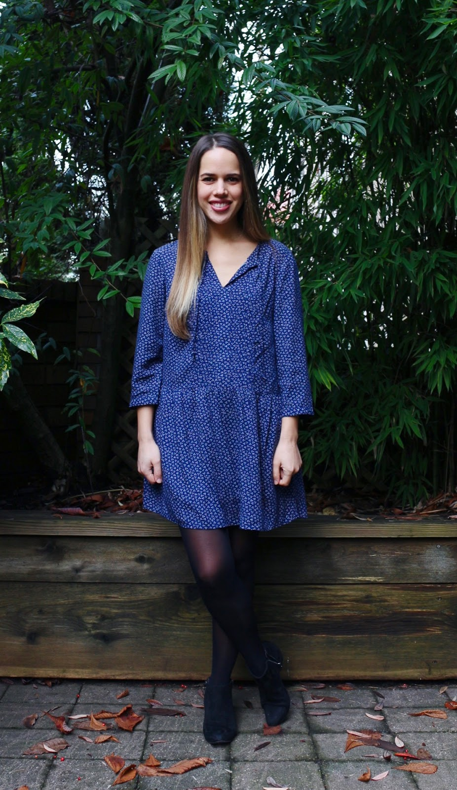 Jules in Flats - Old Navy Swing Dress + Ankle Booties (Business Casual Winter Workwear on a Budget)