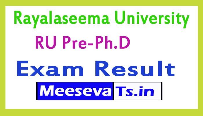 Rayalaseema University Pre-Ph.D Exam Results 2017