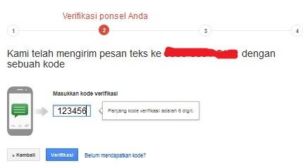 masukkan kode verifikasi 2 langkah yang diterima via SMS dari Google