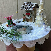 CHRISTMAS ELF COTTAGE SCENE