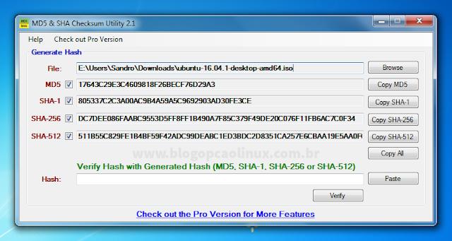 O aplicativo vai gerar as hashes do seu arquivo automaticamente