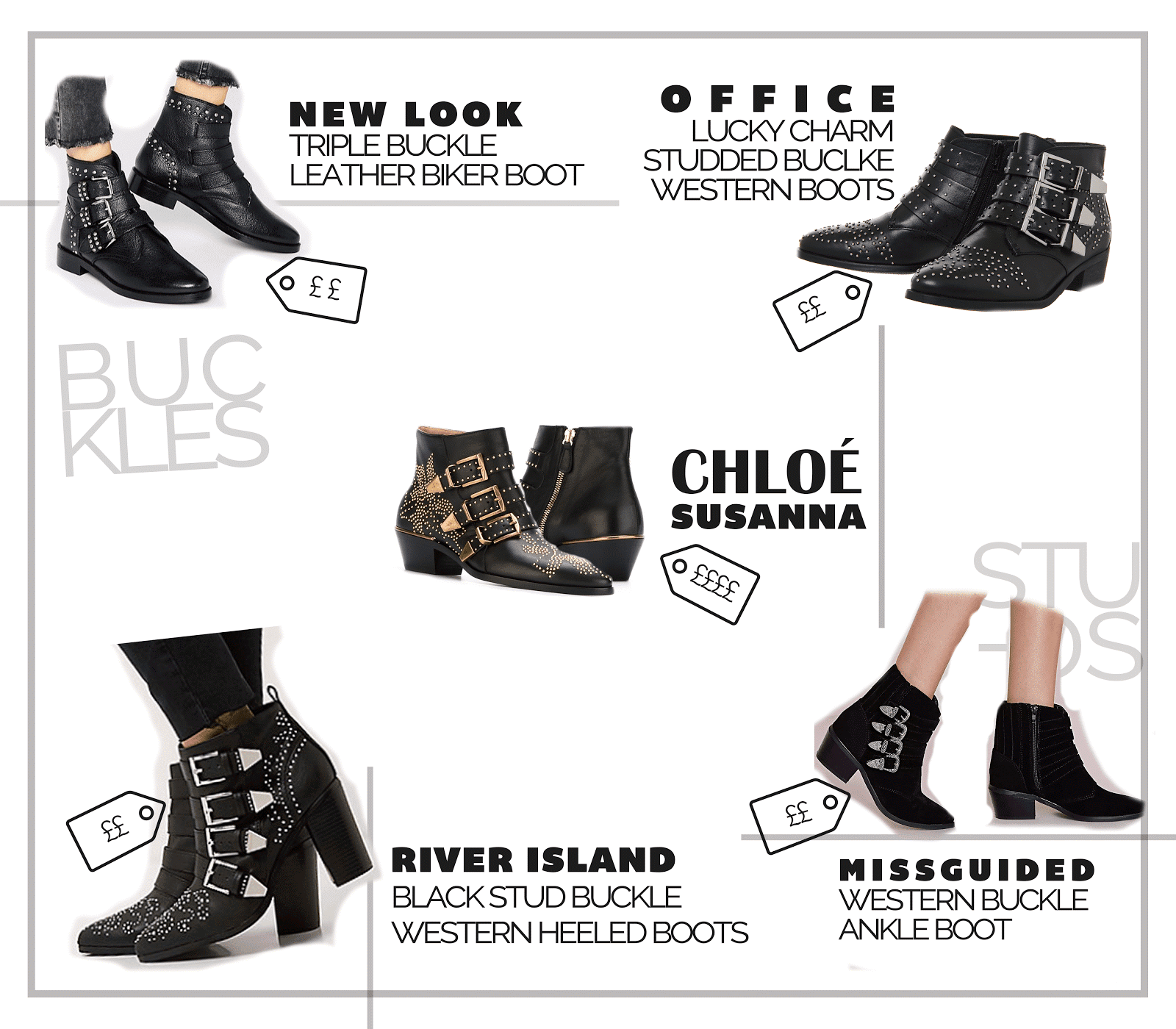designer shoe chloe susanna western buckle boot high street best dupes