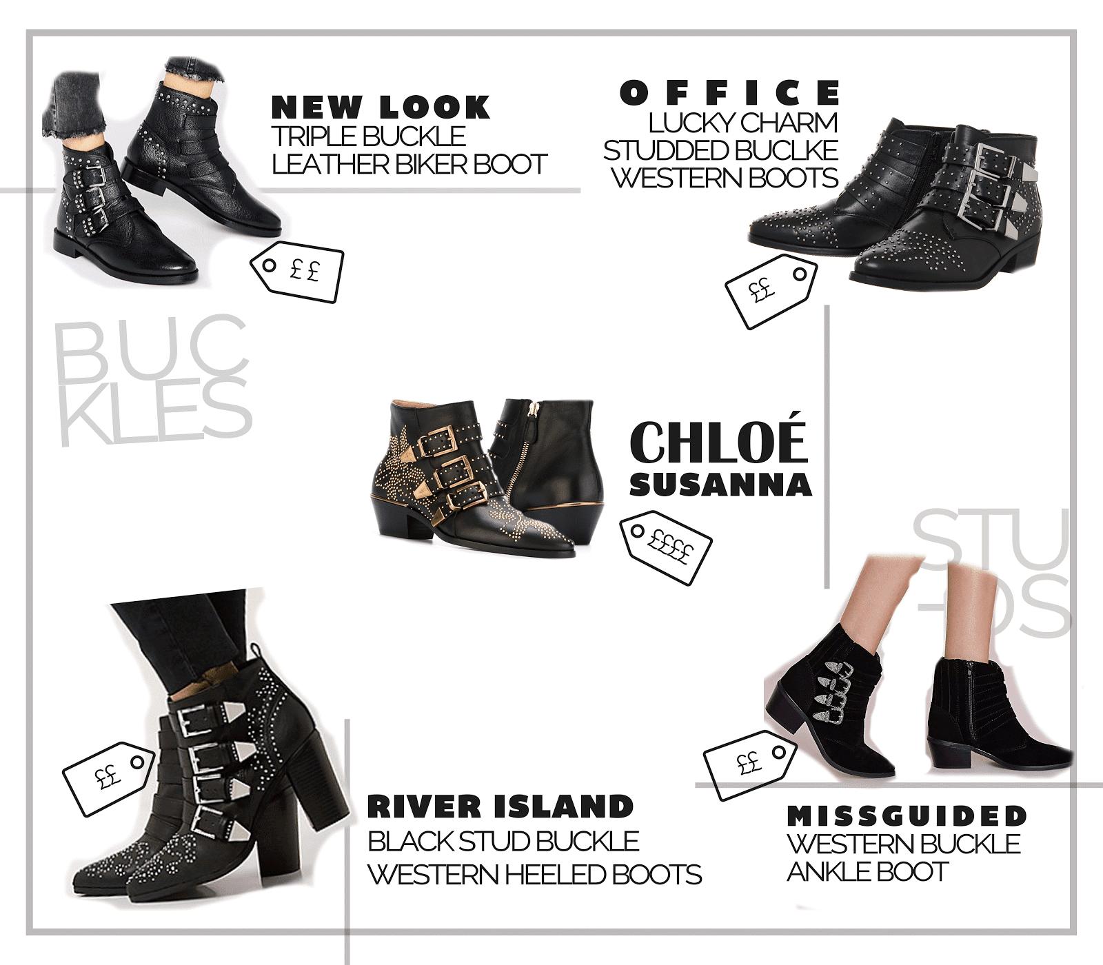 designer shoe chloe susanna western buckle boot high street best dupes