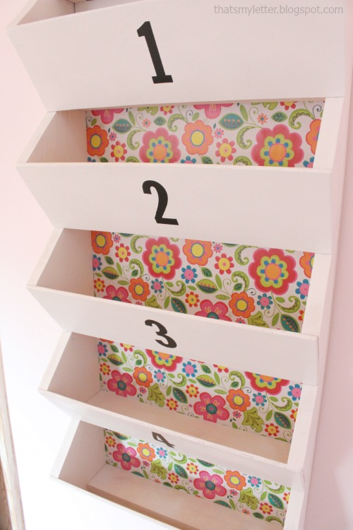 diy wall bins with floral wrapping paper