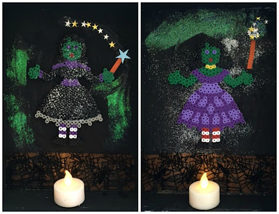 Hama bead witch Halloween display