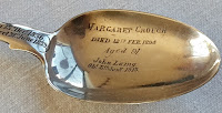 silver teaspoon, family dates, Henry and Evelyn Laing, Otautau Museum