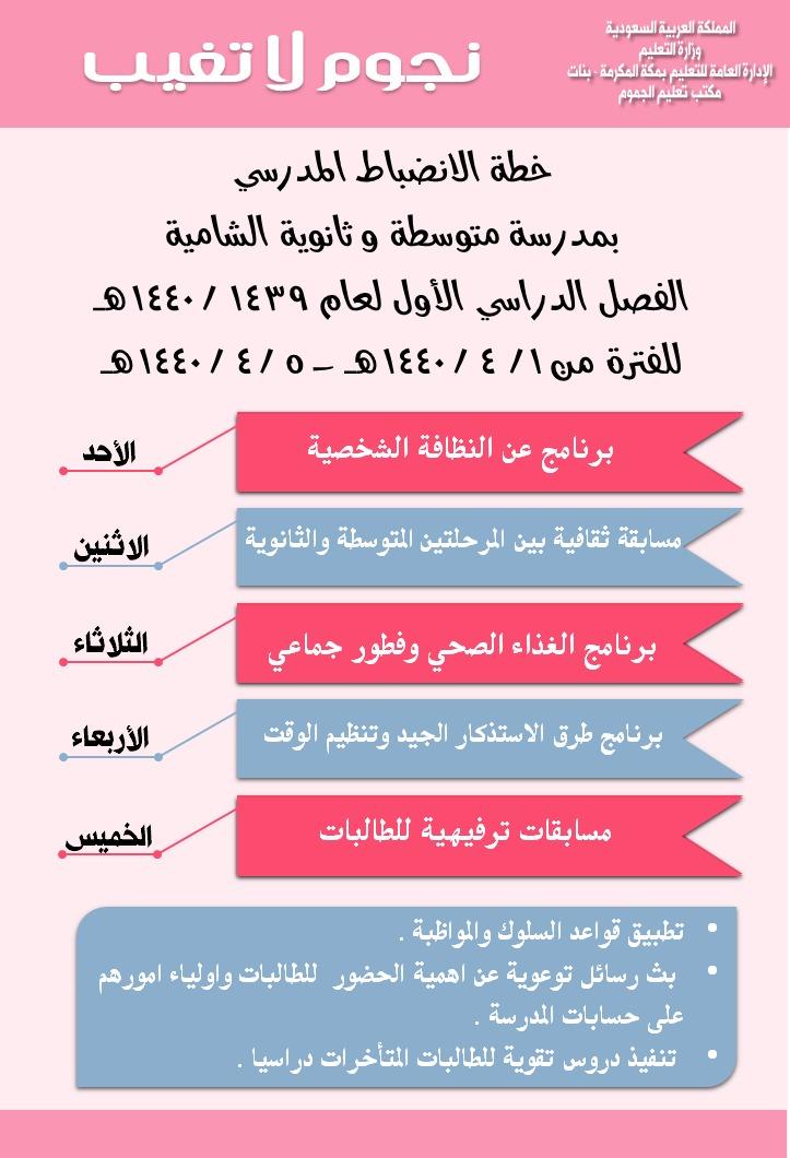 متوسطة و ثانوية الشامية أسبوع الانضباط المدرسي