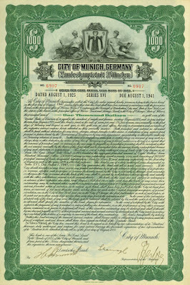 1925 U.S. dollar loan from the city of  Munich