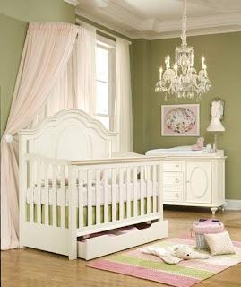 dormitorio color verde y rosa