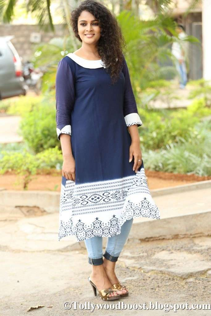 Telugu Actress Sonia Stills At Movie Trailer Launch In Blue Dress