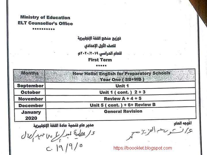 توزيع منهج اللغة الانجليزية للصف الأول الاعدادى الترم الأول 2020