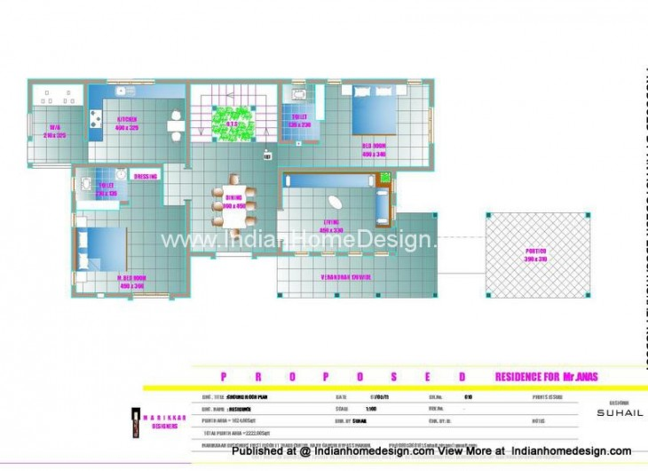 Free house plan 2200 sq ft 3 Bedroom villa home