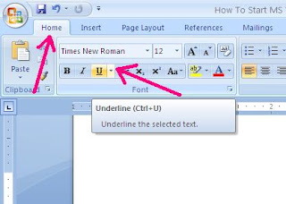 How to make text underline in MS word 2007