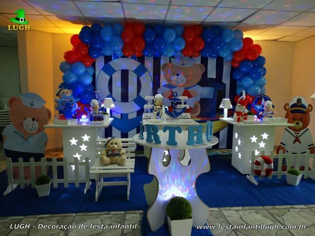 Decoração de mesa temática de aniversário Ursinho Marinheiro - Festa infantil maculina - Recreio - RJ
