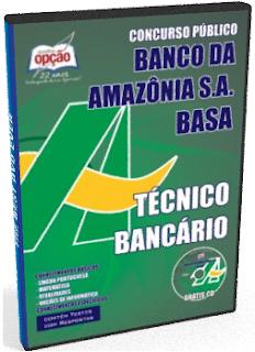 apostila concurso Banco da Amazônia - Técnico Bancário 2018