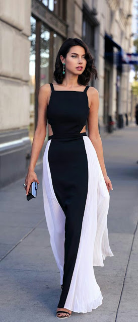 Strap shoulder maxi dress