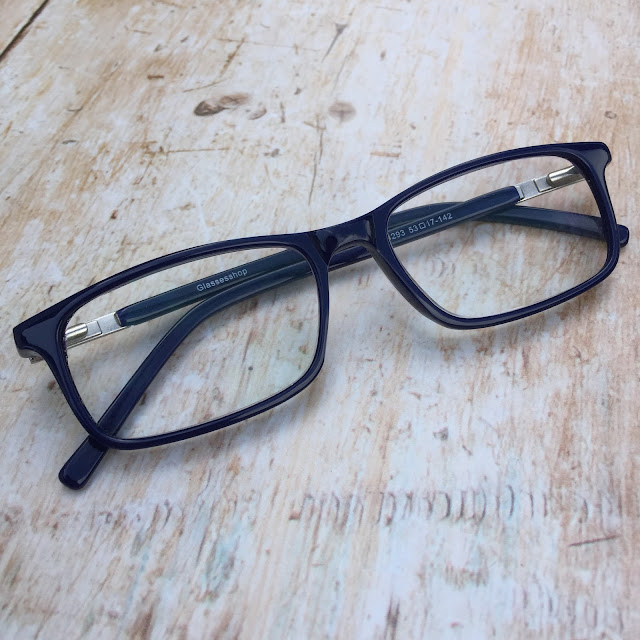 GlassesShop.com cancer rectangle blue glasses