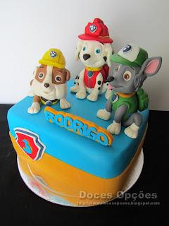 bolo cães patrulha pata aniversário festa
