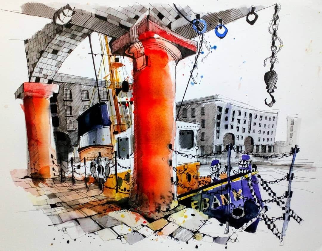 03-Albert-Dock-Liverpool-Ian-Fennelly-Urban-Sketches-Colorfully-Painted-www-designstack-co
