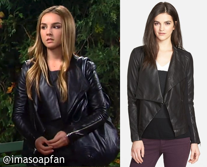 General Hospital, GH, Kristina Davis, Lexi Ainsworth, Black Drape Collar Leather Jacket