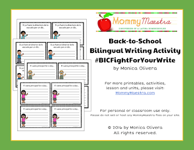 Free Bilingual Writing Activity #BICFightForYourWrite