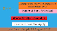 Manipur Public Service Commission Recruitment 2017- 25 Principal