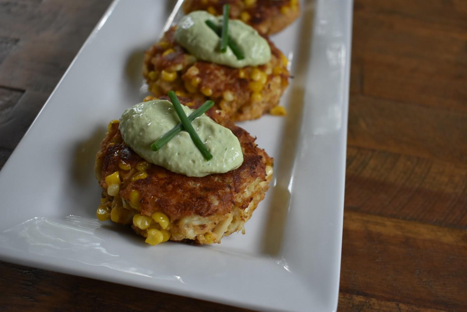Sweet Corn Crab Cakes with Avocado Crema • Chef Jen