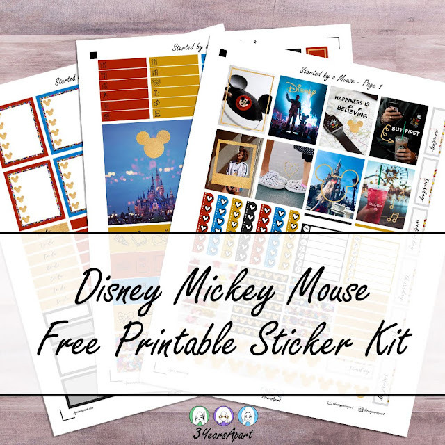 3 sheets of a Disney Mickey Mouse Themed sticker kit on a table