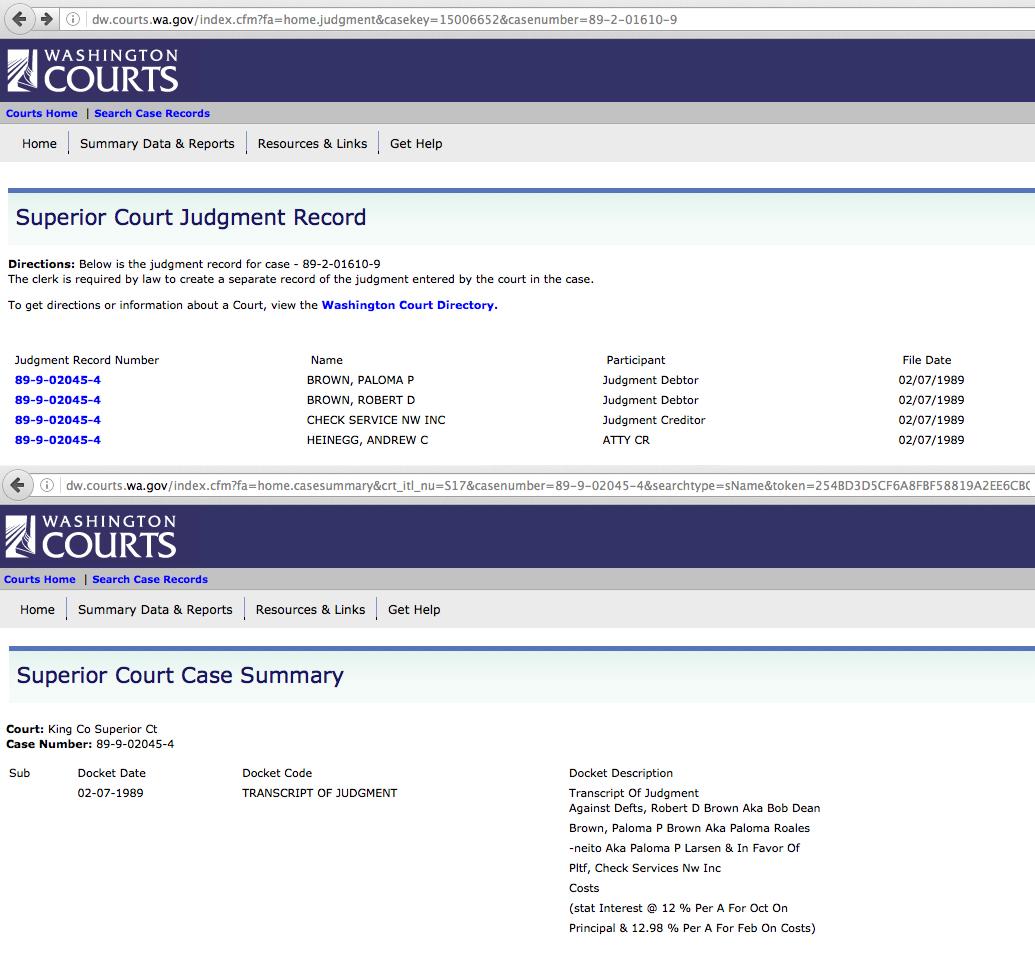 More non-sealed records under Paloma Brown, Paloma P Roales