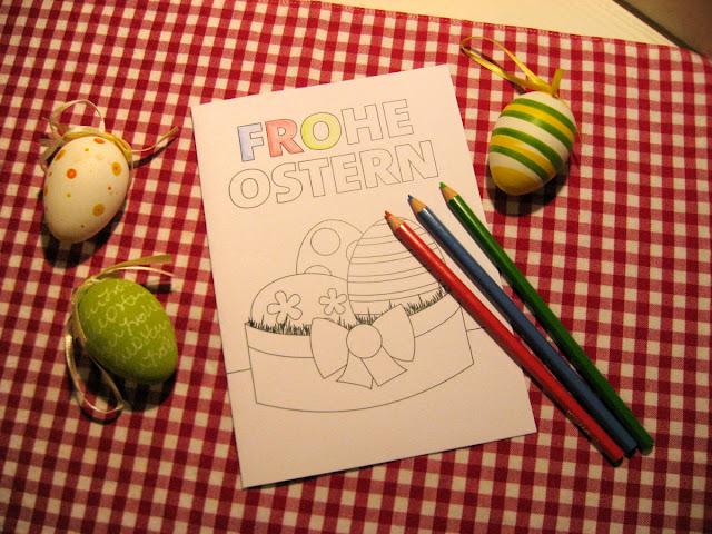 Osterkarte zum Ausrucken und Ausmalen
