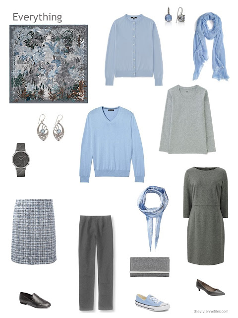 capsule wardrobe in shades of grey with blue accents