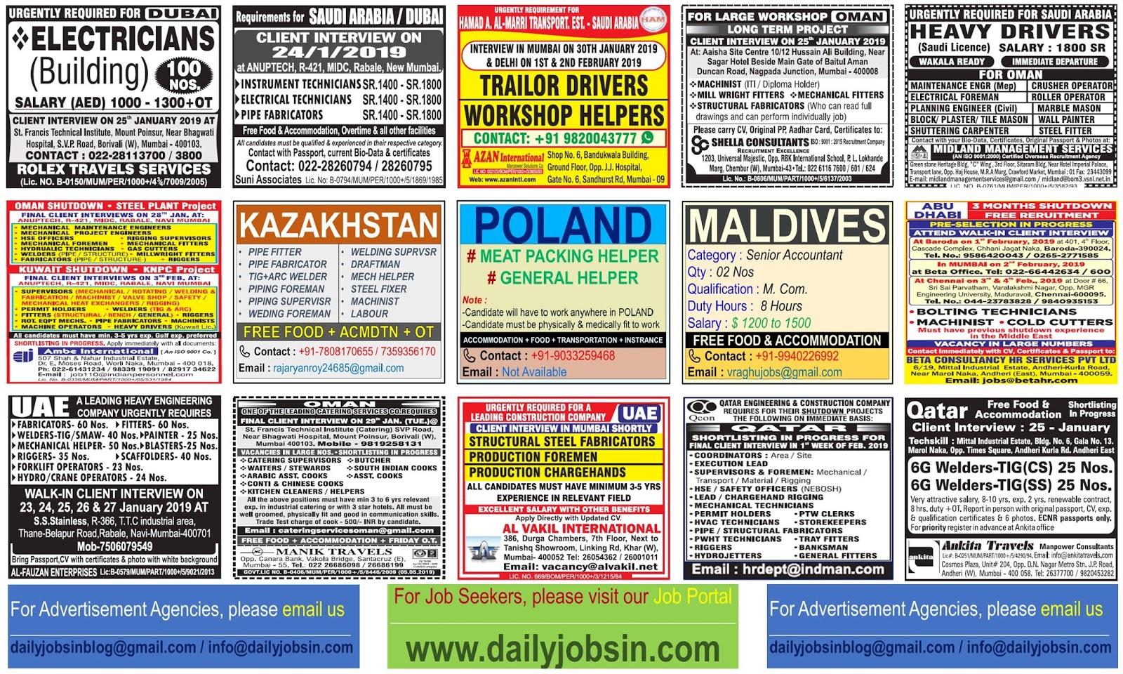 JOBS IN POLAND - KAZAKHSTAN - MALDIVES - GULF COUNTRIES