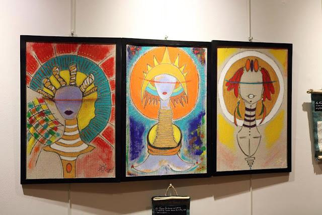 Triptyque de Femmes Sacrées JA Artiste Peintre J. FARRUGIA