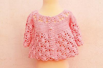 1 - IMAGEN Chaqueta a crochet a juego con vestido rosa para niña muy fácil y rápida Majovel Crochet