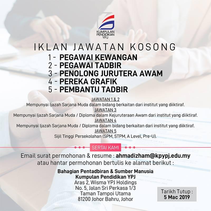 Jawatan Kosong di Kumpulan Pendidikan YPJ - 5 Mac 2019 ...