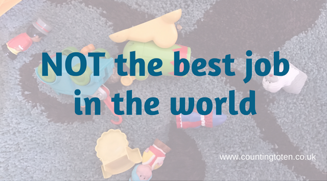 "The title text of ""NOT the best job in the world"" on a faded background with a blue rug covered in ELC Happyland toys"