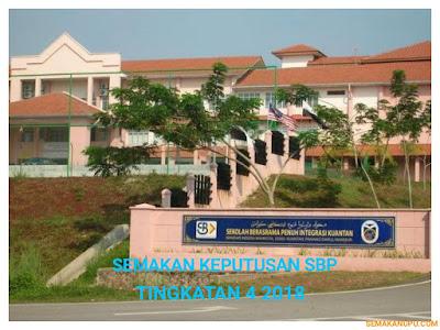 Semakan Keputusan SBP Tingkatan 4 2018 Online