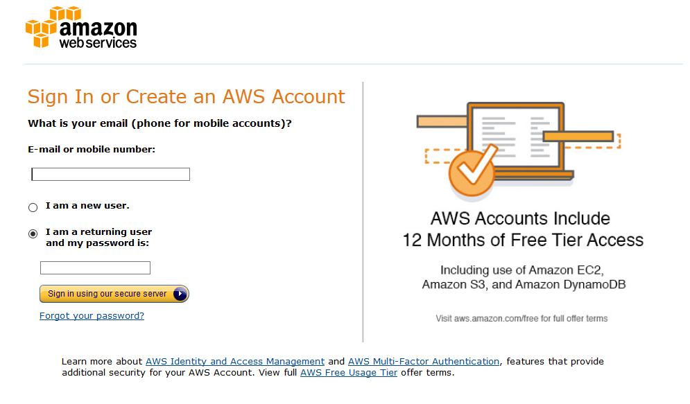 sign-in aws