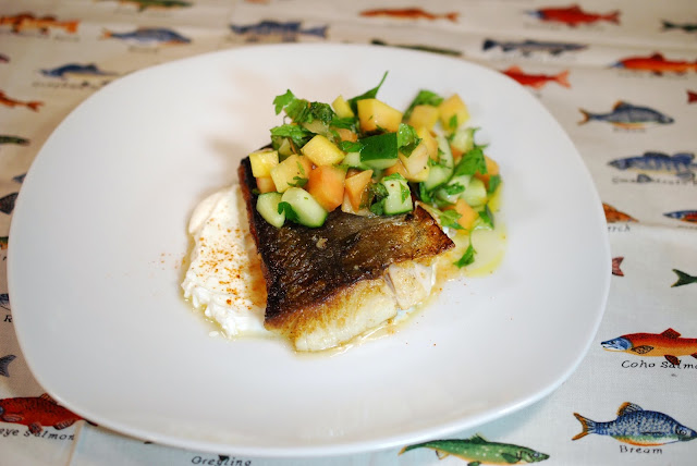 Black Cod and Papaya-Cucumber Salad. Photo by Greg Hudson
