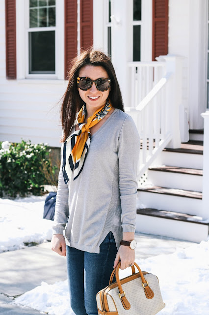 Gray Sweater Silk Scarf