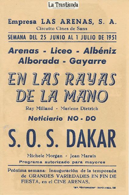 S.O.S. Dakar - Programa de Mano - Jean Marais - Michele Morgan