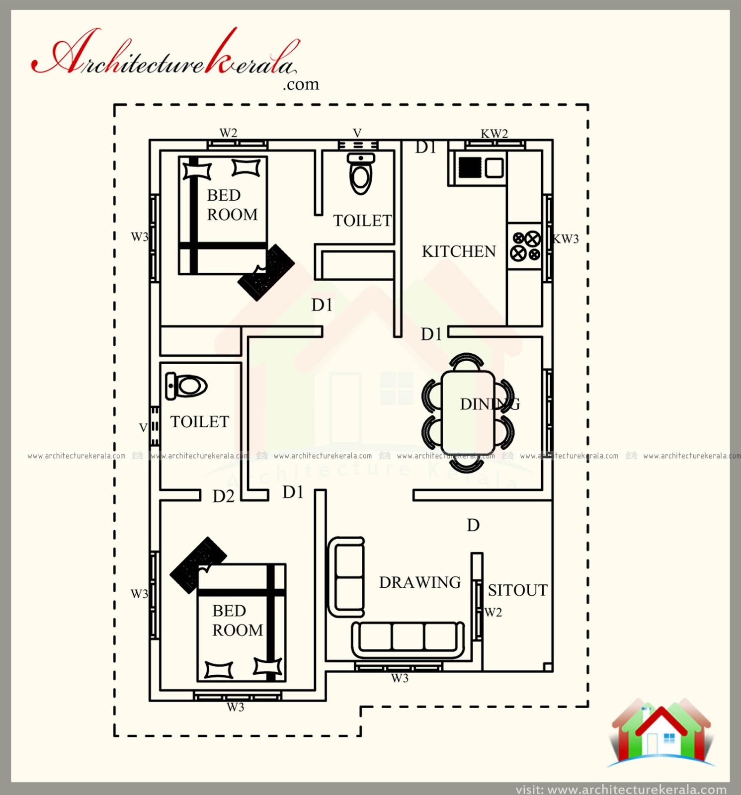 700 SQUARE FEET KERALA STYLE HOUSE PLAN