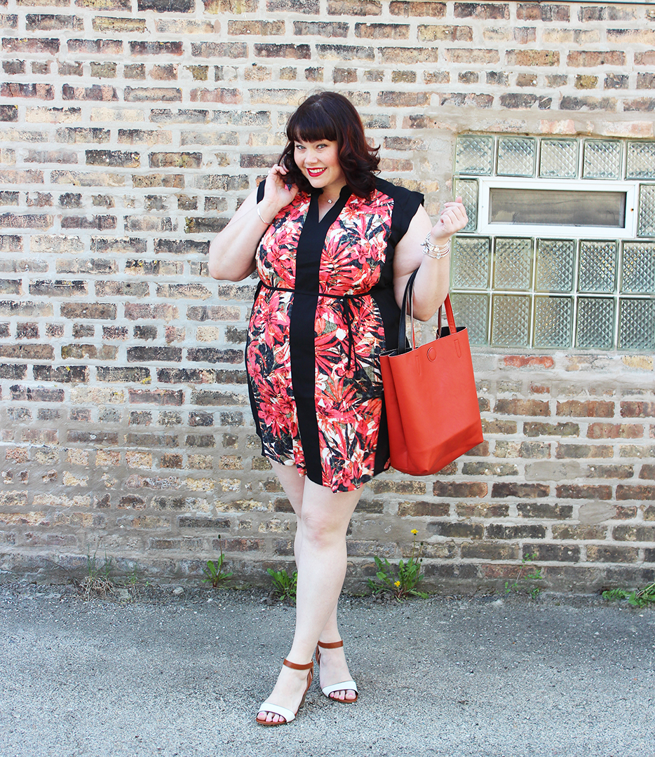 plus size blogger, plus size model, style plus curves, plus size tunic dress, leaf print tunic, Yours Clothing, summer style